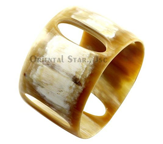 Natural carved horn bangle bracelet