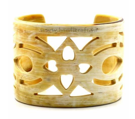 Natural carved horn cuff bracelet