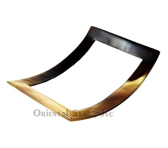 Rectangular curved horn bangle bracelet
