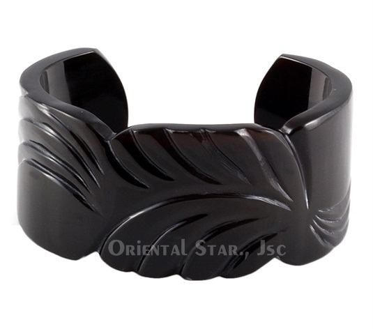 Black horn carved cuff bracelet