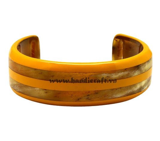 Horn cuff bangle bracelet with lacquer