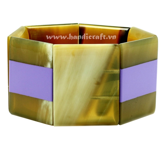 Horn & purple lacquer bangle bracelet