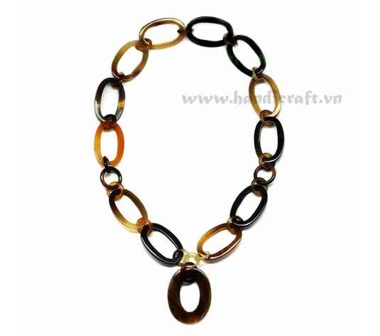 Natural oval horn necklace