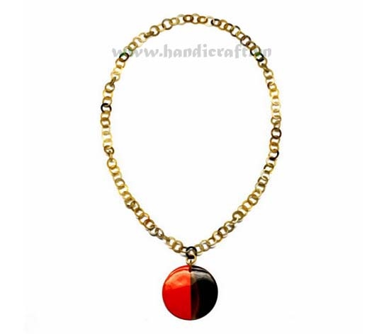 Small horn link with large black & red pendant