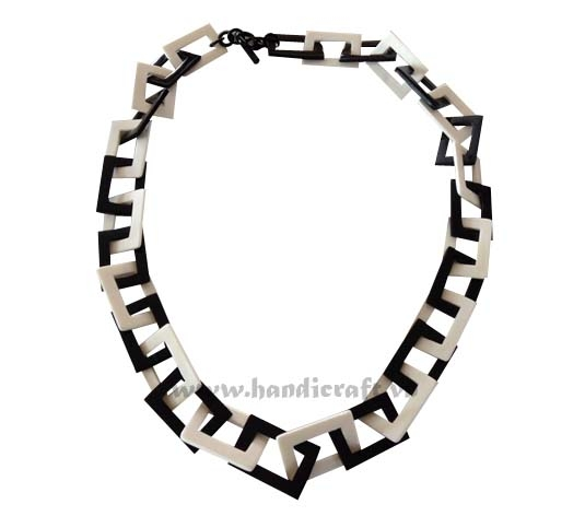 Rectangular horn & bone necklace