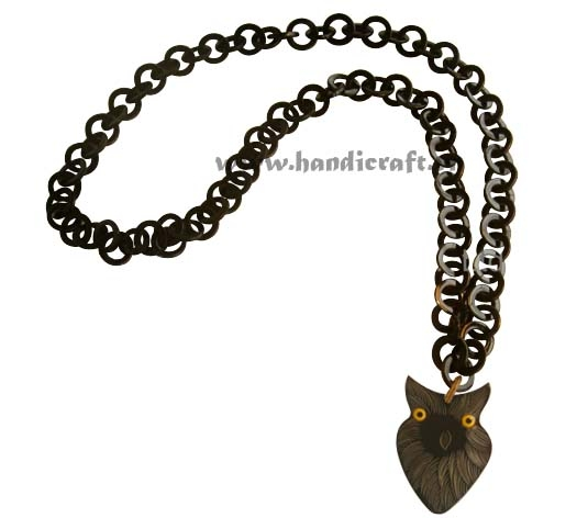 Dark horn with owl pendant necklace