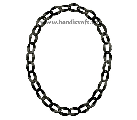 Black oval horn necklace