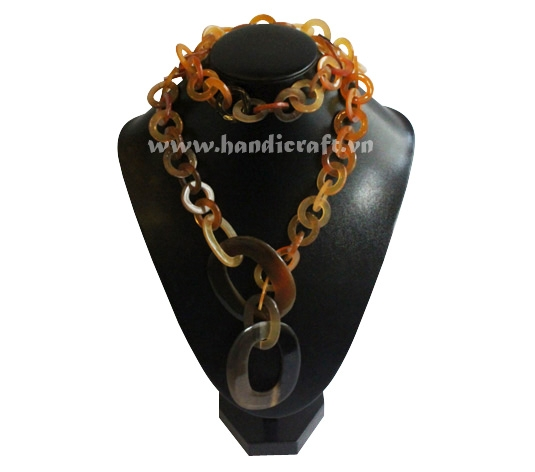 Long brown horn necklace