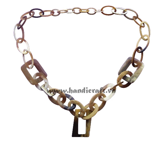 Natural oval & rectangular horn necklace