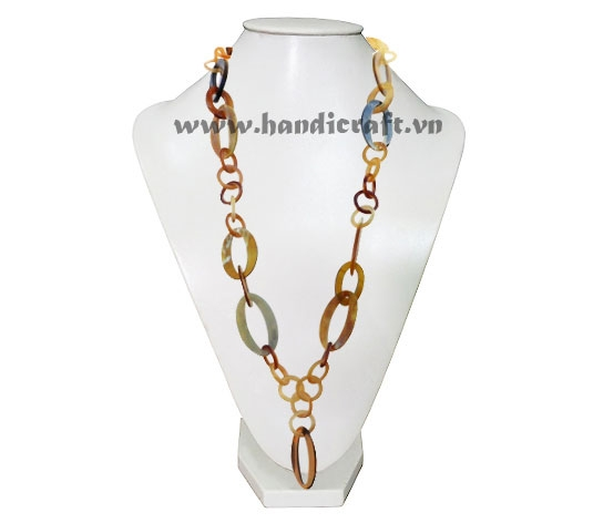 Long round & oval horn necklace