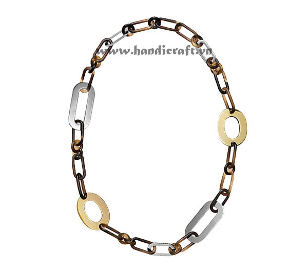 Horn with gold & silver lacquer necklace