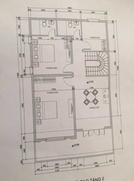 Bản vẽ kỹ thuật nhà 2 tầng tại Bắc Ninh