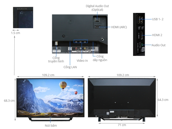 INTERNET TIVI SONY 48 INCH 48W650D FULL HD MXR 200HZ