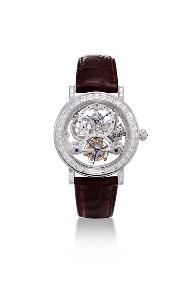 Đồng hồ Breguet Skeleton Tourbillon Baguette Diamonds 18K White Gold 3356