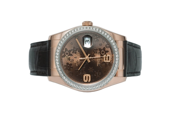 Đồng Hồ Rolex Datejust 116185 Mặt Số Chocolate Họa Tiết Hoa