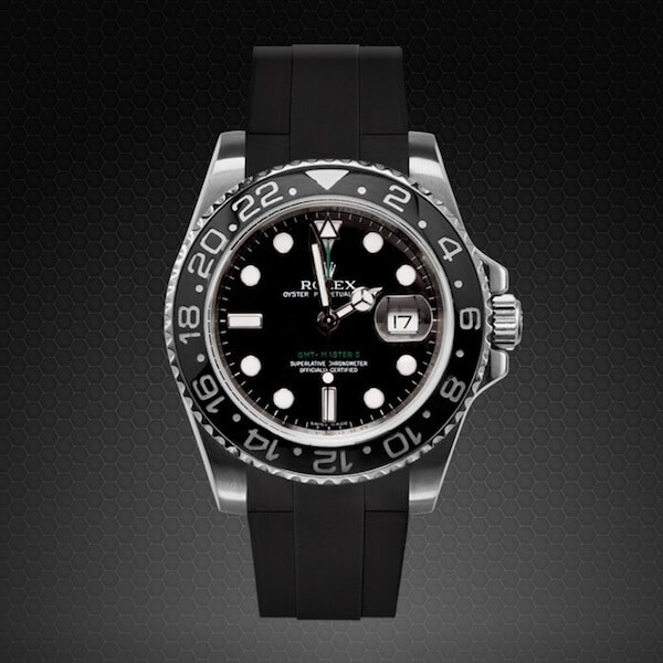 Dây cao su Rubber B cho đồng hồ Rolex GMT Master II Ceramic - Tang Buckle Series