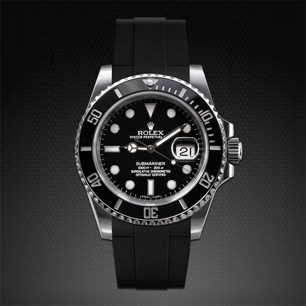 Dây cao su Rubber B cho đồng hồ Rolex Submariner Ceramic - Glidelock Edition