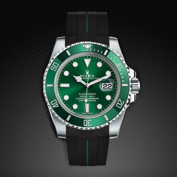 Dây cao su Rubber B cho đồng hồ Rolex Submariner Ceramic - Tang Buckle Series VulChromatic®