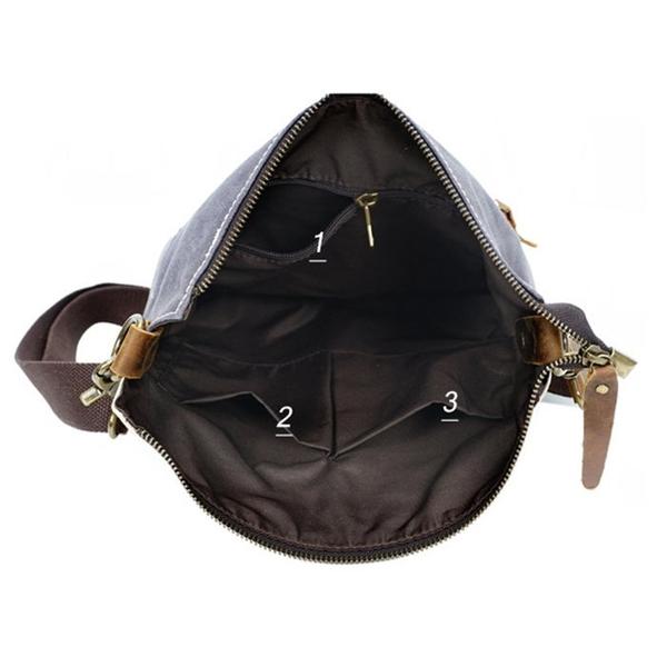 Túi đeo chéo nam vải bố không thấm nước quai da - 1345758