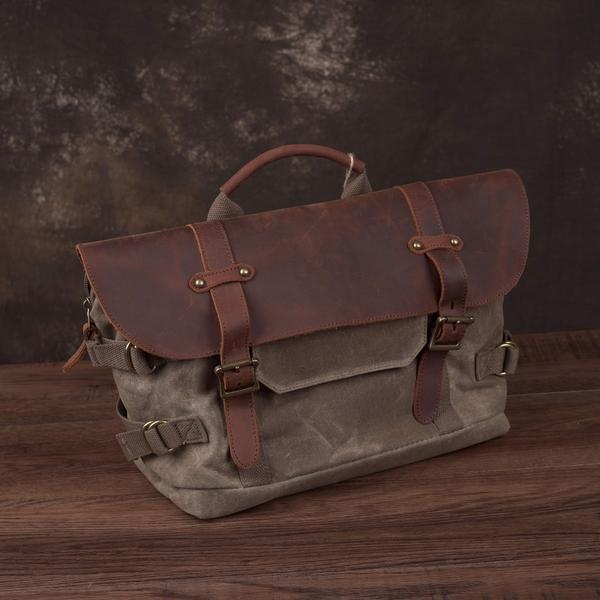 Túi đeo chéo vải bố nắp da - 1012602