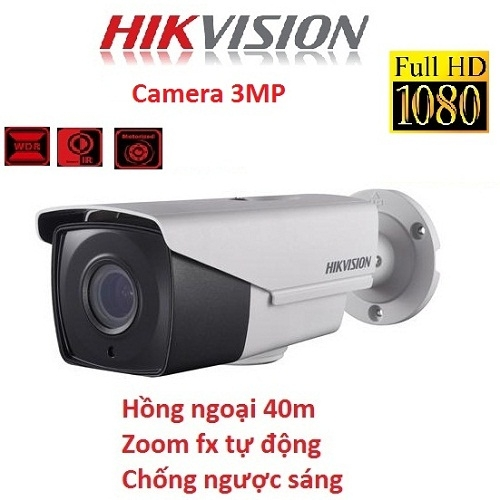 CAMERA HIKVISION 3MP DS-2CE16F7T-IT3Z CHỐNG NGƯỢC SÁNG, ZOOM FX
