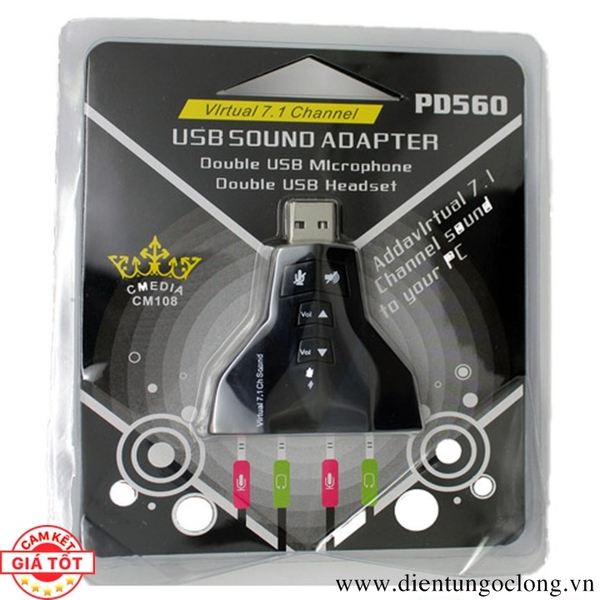 USB Sound Adapter Virtual 7.1 Channel PD560