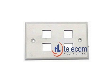 4-port Faceplate UK Style Shuttered Alantek Part Number: 302-203224-SHWH
