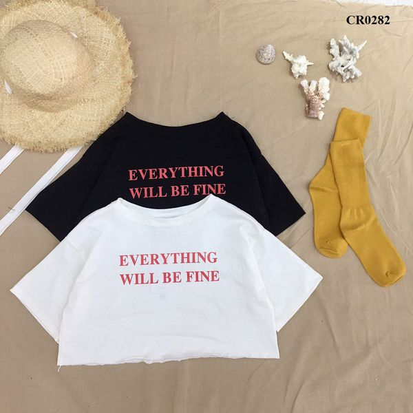 CR0282 - ÁO CROPTOP XƯỢC IN WILL BE FINE - SỈ 100K