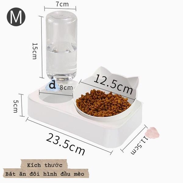 Bát ăn đôi hình đầu mèo kèm bình cấp nước tự động size L
