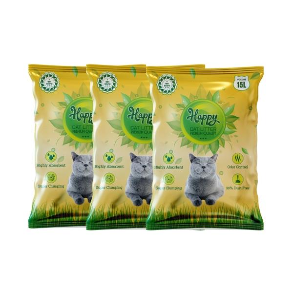 Cát vệ sinh Happy Cat 15L siêu khử mùi và kháng khuẩn (Vàng)
