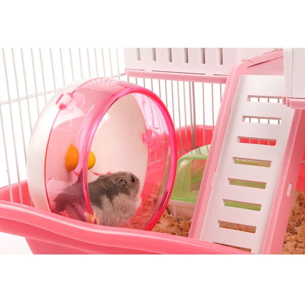 Lồng chuồng nhà gỗ 2 tầng cao cấp cho hamster bộ full phụ kiện