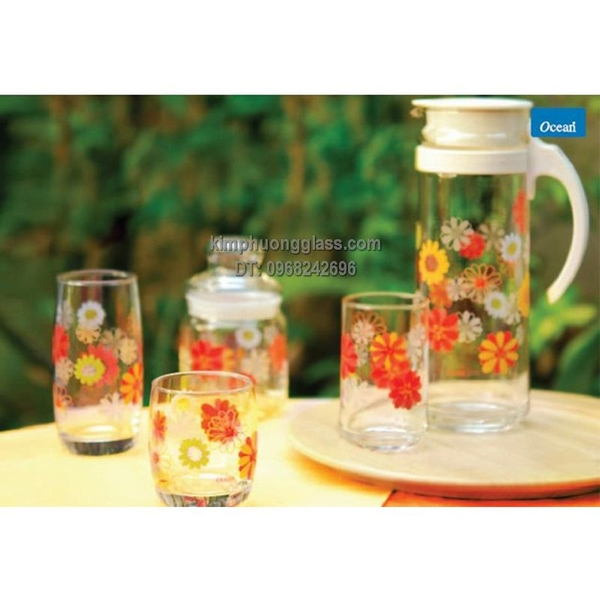 BỘ BÌNH PATIO PITCHER IN HOA + 6 LY - 1.3L