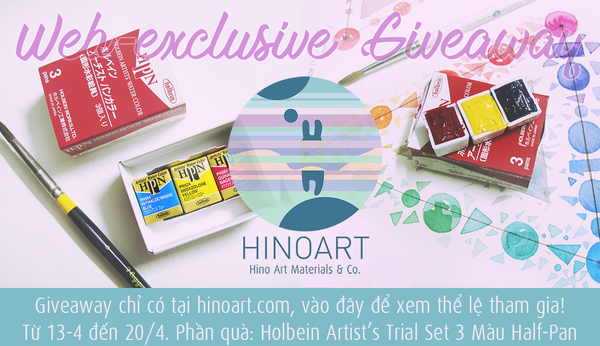 Web-exclusive GIVEAWAY No.1: Holbein Artist's Watercolour Trial Set 3 màu half-pan!