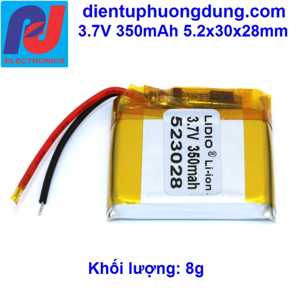 Pin Li-ion 3.7V 350mAh 523028
