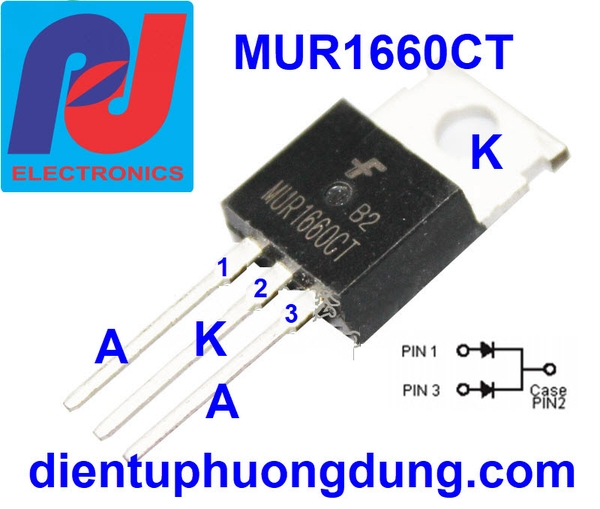 Diode MUR1660CT 16A 600V TO-220