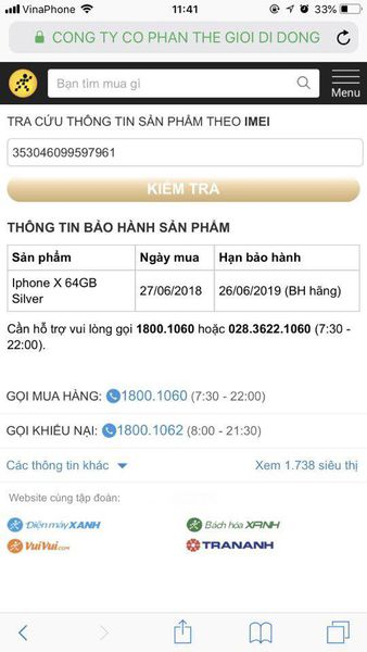 iPhone X 64GB  TRẮNG VN/A