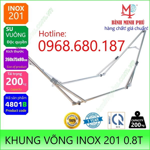 [4801B] KHUNG VÕNG INOX 201 ỐNG TRÒN PHI 32 SU ĐA NĂNG - Portable Folding Stainless Steel Stand Round Tube 32mm pipe flexible type