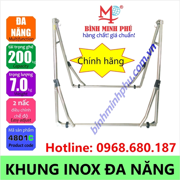 [4801BC] KHUNG VÕNG ĐA NĂNG INOX 201 ỐNG TRÒN PHI - Portable Multifunction Folding Stainless Steel Stand Round Tube 32mm pipe