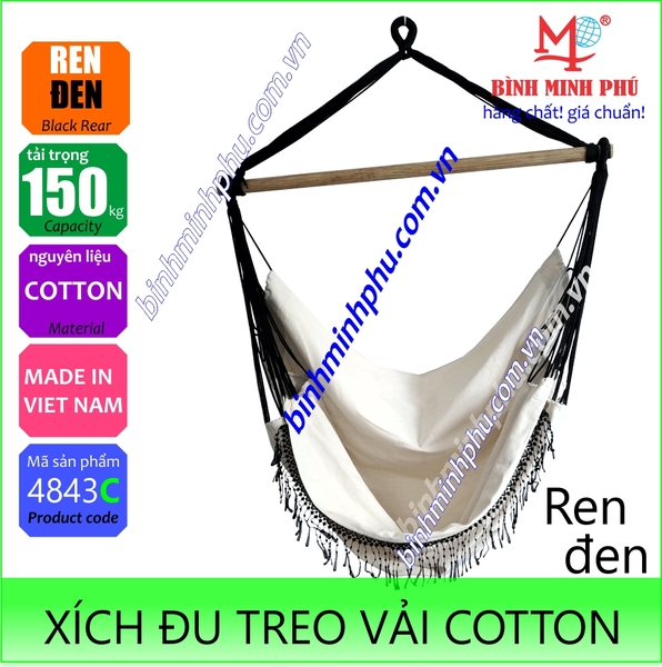 [4843C] XÍCH ĐU VẢI COTTON REN ĐEN - Portable cotton swing chair with black lace trim