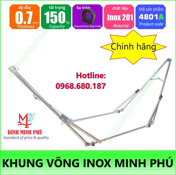 [4801A] KHUNG VÕNG MINH PHÚ INOX TRÒN 201 - 0.7T - Portable folding stainless steel stand round tube 32mm pipe basic type