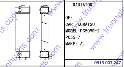 RADIATOR for Excavator Komatsu PC50MR-2 PC55-7