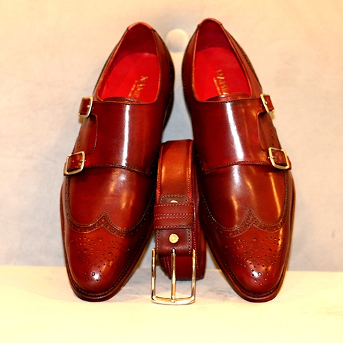 Wingtip Double Monk Strap With Belt
