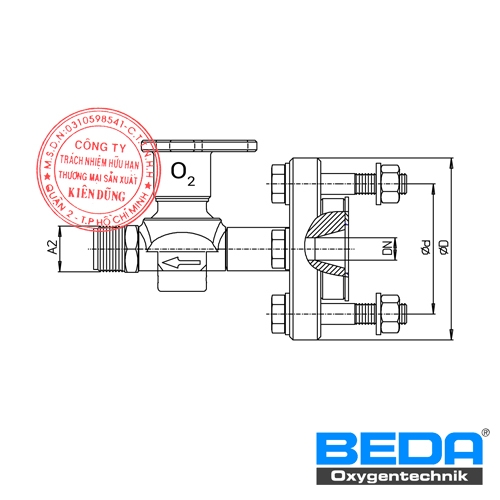 Van Nguồn BEDA Shut-off Valve At Oxygen Supply-line With