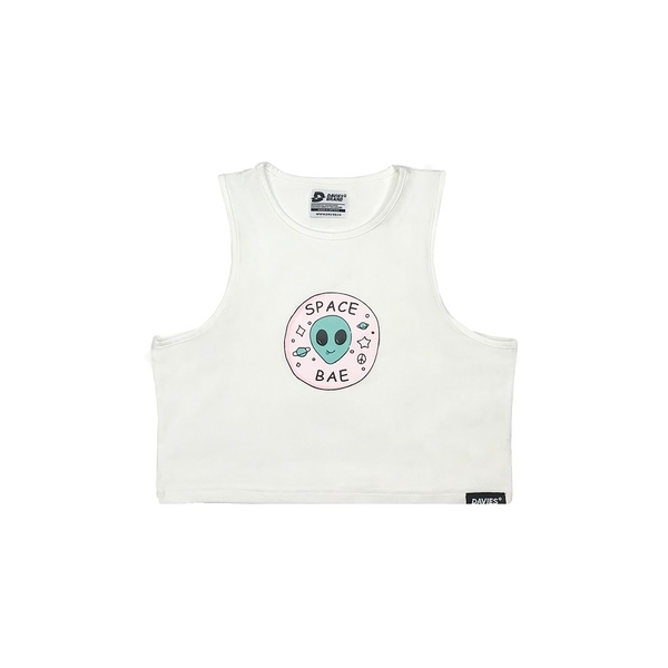 DSS Croptop Space Bae-White