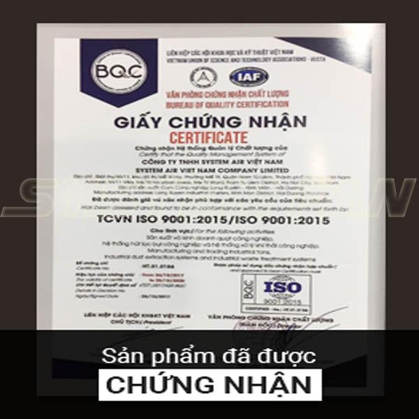 Giấy chứng nhận sản phẩm của System Fan Việt Nam