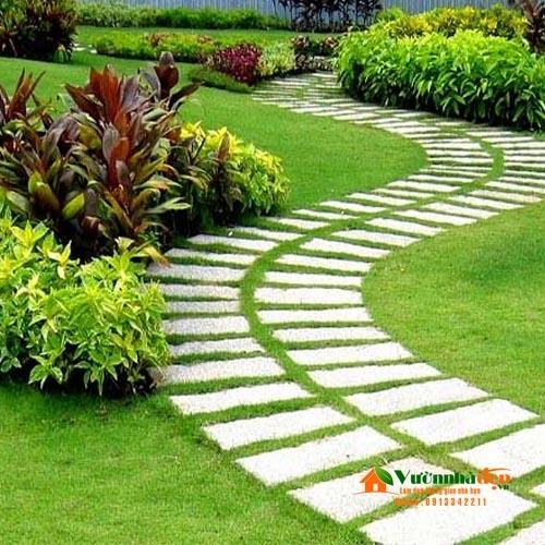Cách lót đá sân vườn