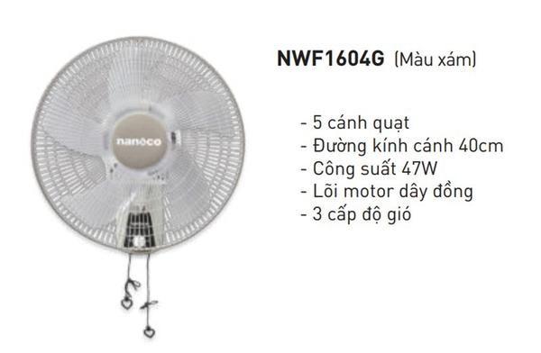 Quạt Treo Tường Nanoco NWF1604G - Màu Xám - 2 dây | HomeCenterVN.com - Tổng kho đồ dùng thiết bị trong nhà cửa đời sống