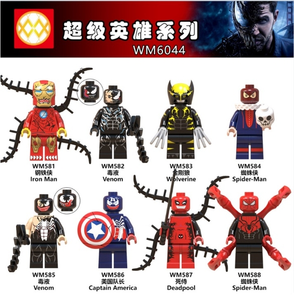 Minifigures Các Nhân Vật Ironman Venom Spiderman Deadpool Captian America.. WM6044