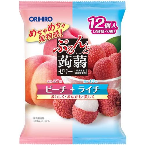 Thạch trái cây Orihiro vị Đào & Vải 240gr | Can.D Confectionery