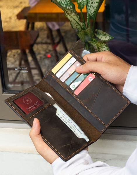ví dài cầm tay venuta2 havias màu nâu sáp ví da sáp